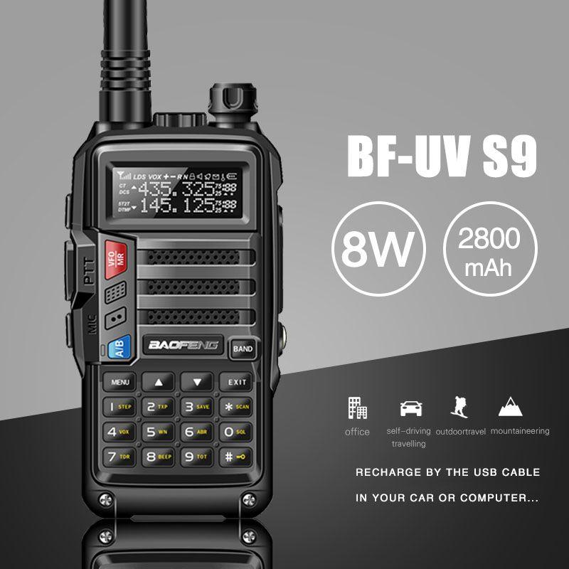 2019 BAOFENG UV-S9 8 W Puissant VHF/UHF136-174Mhz & 400-520 Mhz Double Bande 10 KM Longue Portée thickenbattery Talkie Walkie CB Radio