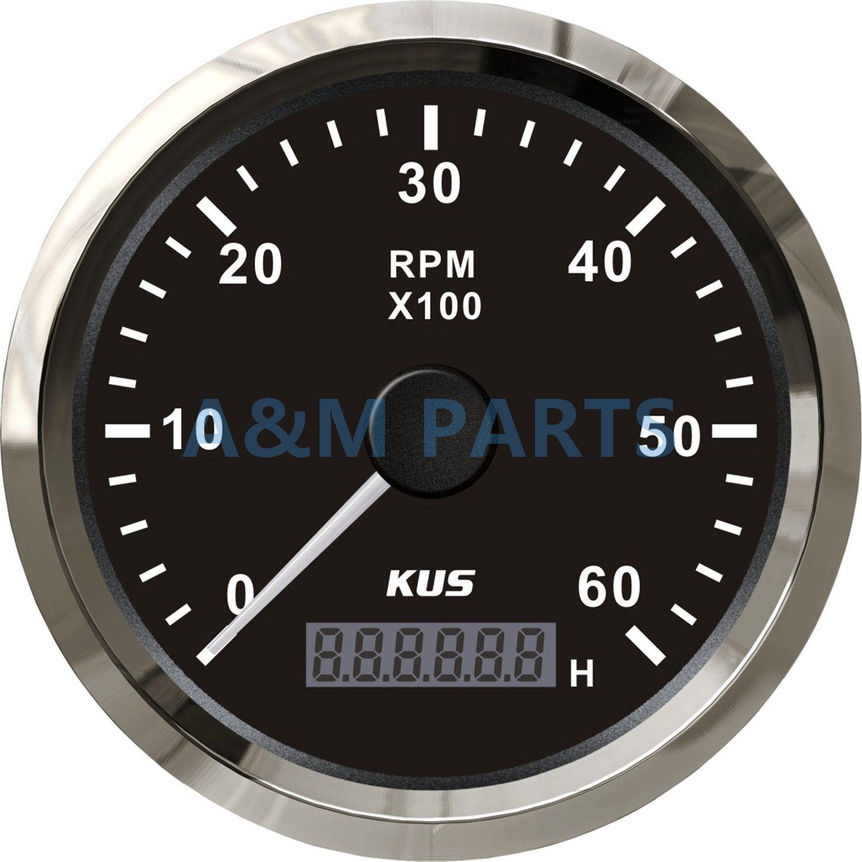 KUS Marine Tachometer-lehre Mit LED Betriebsstundenzähler Boot Lkw Auto RV Wasserdichte RPM Tacho Meter 6000 rpm 85mm Geschwindigkeit ration 1-10