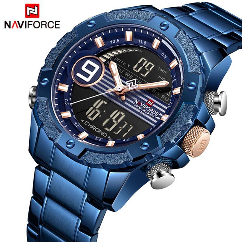 2019 männer Uhr NAVIFORCE Beiläufige Sport Digitale Chronograph Military Dual Display Edelstahl Quarz Wasserdichte Armbanduhren