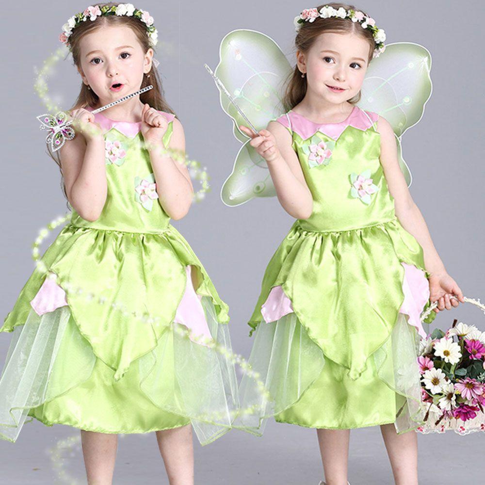 Новинка 2017 года Tinkerbell Принцесса Лесной Феи платье Косплэй костюм Обувь для девочек Зеленая фея платье для От 3 до 10 лет дети (без крыла)