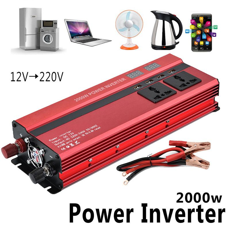 2000W Car LED Inverter 12v 220v Converter DC 12 v to 220v 4 USB Ports Charger Veicular Car Power Inverter Dual Display Inversor