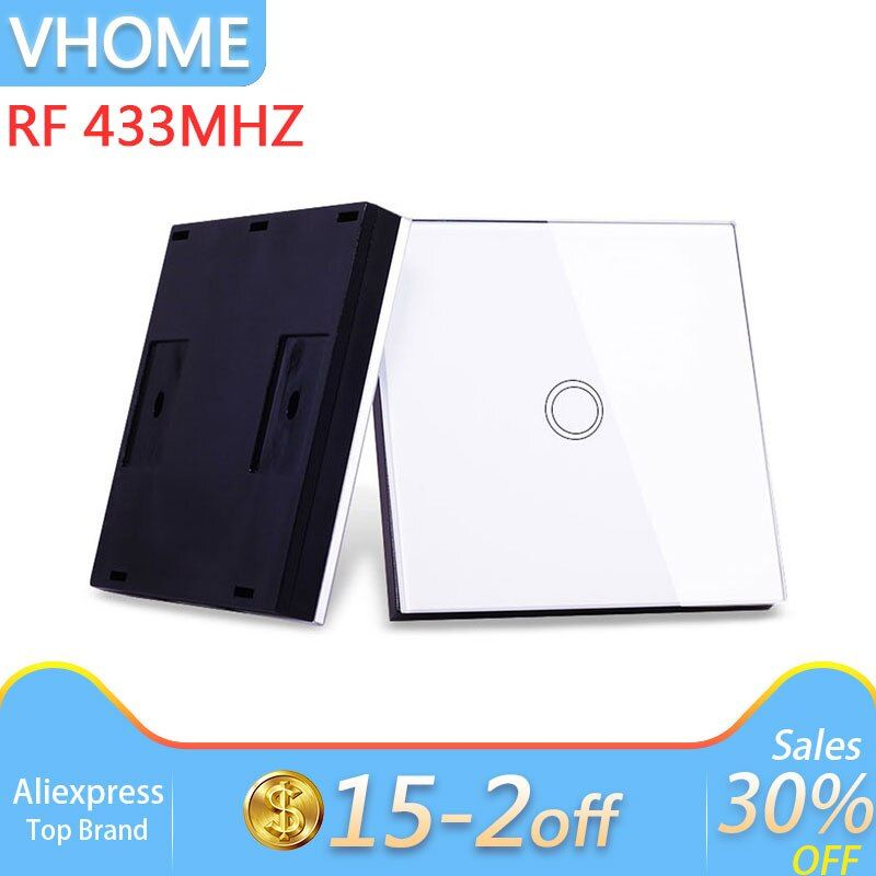 Vhome Wireless Sensor Remote RF 433MHZ Glass Panel Remote, Touch Switch Light Control, Garage Door, Electric Curtains