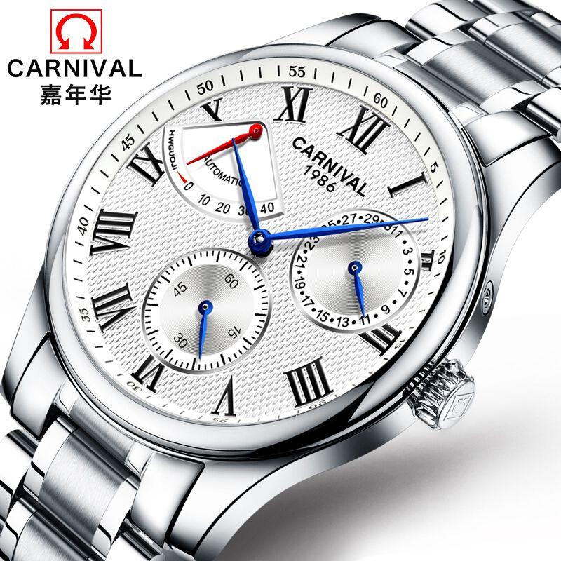 Karneval Marke display qualität automatische mechanische Uhren Männer military Luxus voller stahl Wasserdichte Uhr uhren uhr