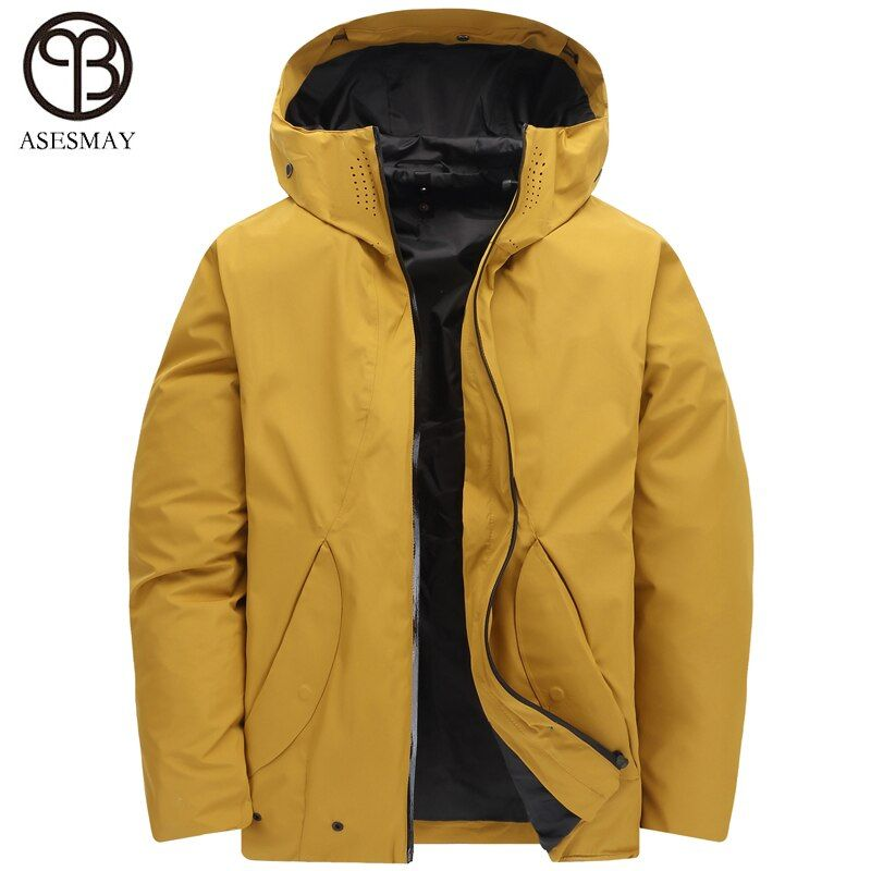 Asesmay 2018 brand new casual winter down jacket men white duck down coat hoodies removable liner two-way wear mens parka coats