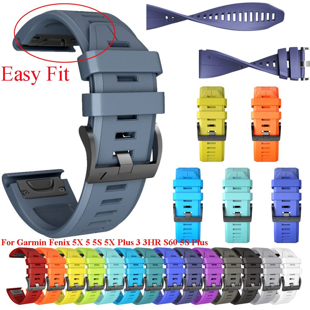 26 22 20MM Watchband Strap for Garmin Fenix 5X 5 5S 5X Plus 3 3HR S60 MK1 Smart Watch Quick Release Silicone Easyfit Wrist Strap