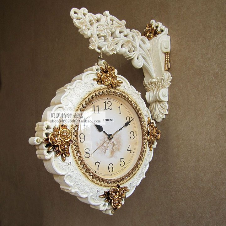 TUDA Home Furnishing luxury European retro double sided clock large living room wall clock wall clock on both sides