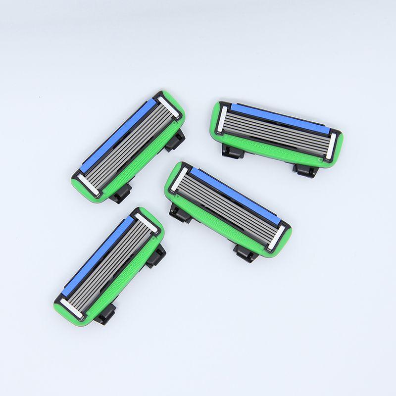 Brand New 4 pcs/lot 6 Blades Men's Face shaving Razor Blades shaver For Men Sharpener High Quality Sharpener Razors Blade PACE6