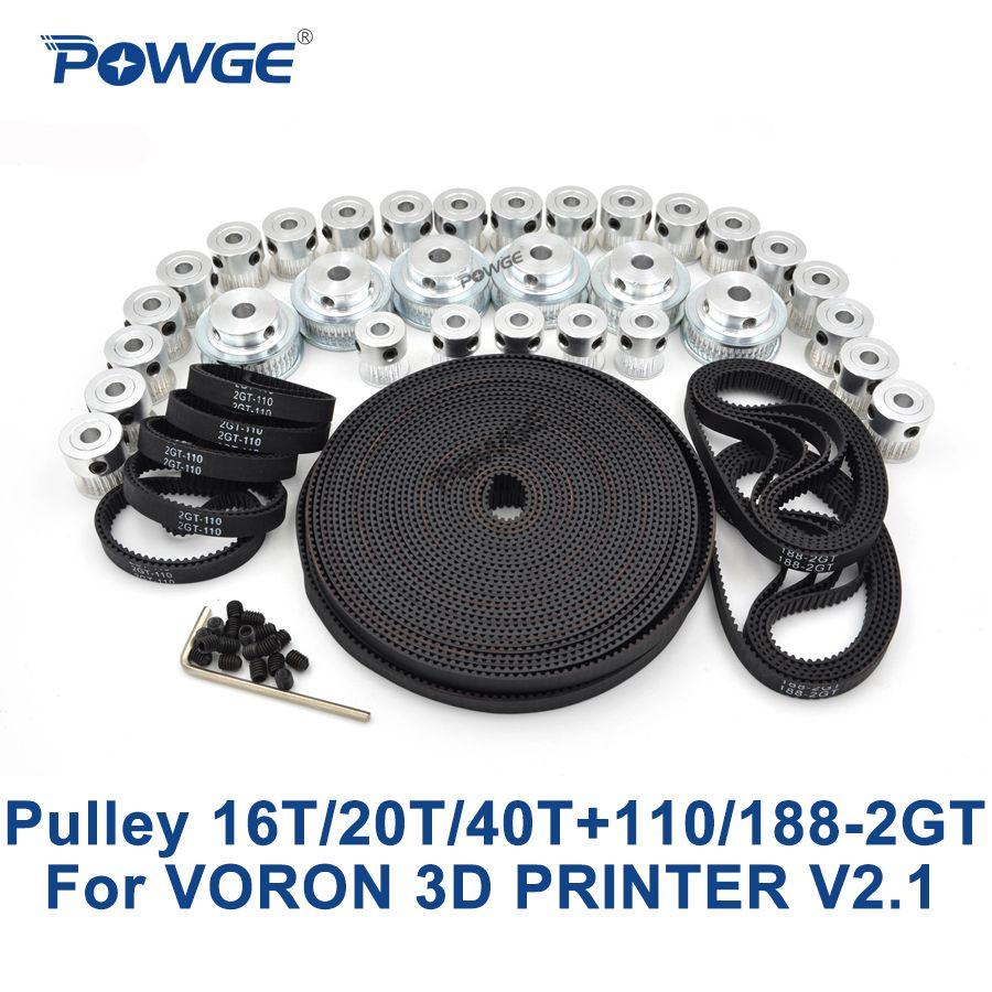 POWGE VORON 3D DRUCKER V2.1 Set MOTION GT2 BOM TEILE 2GT Timing pulley Bohrung 5mm 16 t/20 t/40 t und 110-2GT 188-2GT schleife offen gürtel