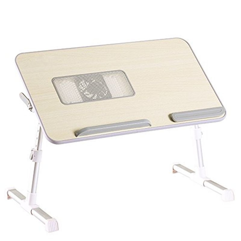 Adjustable Laptop Table Built-in Cooling Fan, Superjare Portable Standing Desk, Notebook Stand Reading Holder For Couch Floor