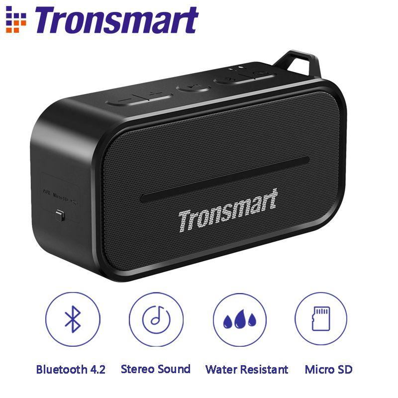 Tronsmart Element T2 Bluetooth Speaker 4.2 Outdoor Water Resistant Speaker Portable Speaker and Mini Speaker with Micro SD