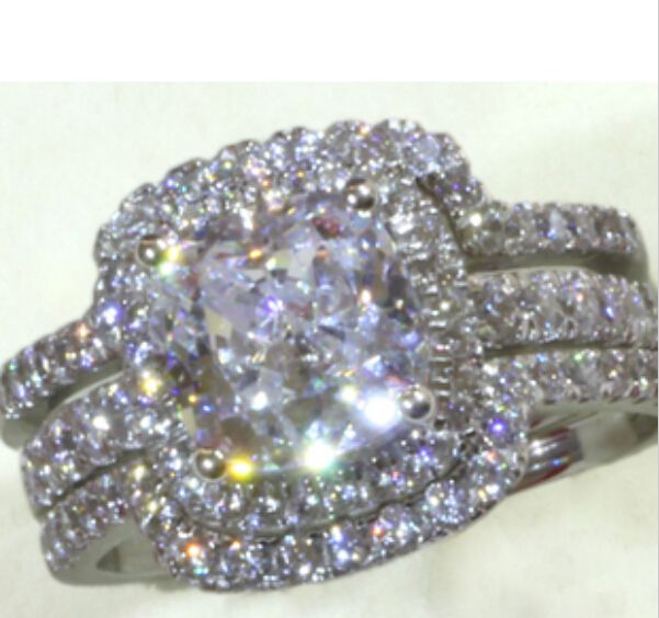 Brand Jewelry cushion cut 8mm 5A Zircon 10KT White Gold Filled 3-in-1 Wedding Ring Set Engagement Band Size 5-11