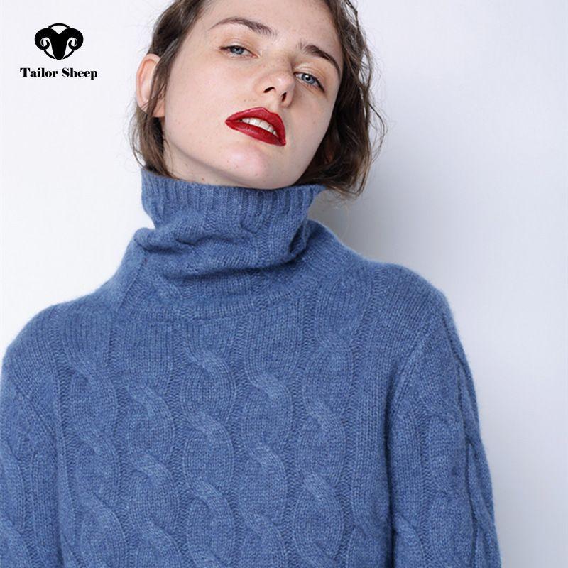 Зимний свитер женщин Высокий воротник 100% чистый кашемировый свитер женский толстый свитер Новинка 2017 твист шаблон дна теплый пуловер