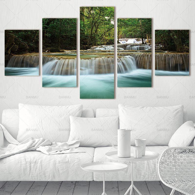 5 Panneau Cascade Peinture Toile Wall Art Photo Décoration Salon Toile Peinture Grande Toile Art Sans Cadre