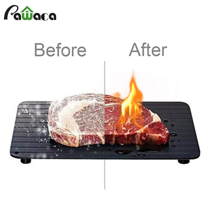 Fast Defrosting Tray for Frozen Food Thawing Plate Defrost Meat Fish in Minutes The Safety Way Defrosting Meat Tray Kitchen Tool