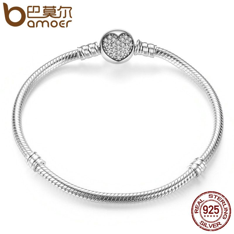 BAMOER Authentic 100% 925 Sterling Silver Classic Snake Chain Bangle & Bracelet for <font><b>Women</b></font> Sterling Silver Jewelry PAS916
