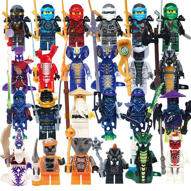24 pcs/lot Compatible Legoed NinjagoINGlys NINJA Héros Kai Jay Cole Zane Nya Lloyd Avec Armes D'action Jouet ninjago Figure Blocs