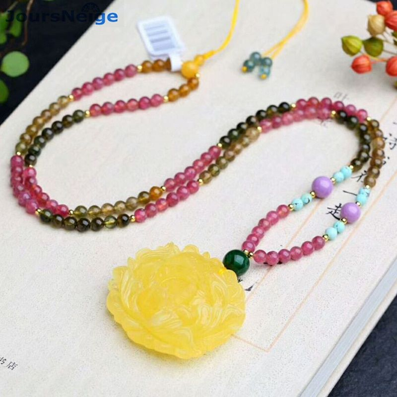 JoursNeige Natural Tourmaline Crystal Necklace Fine Stone Beads With Caved Yellow Flower Pendant Sweater Chain Necklace Jewelry