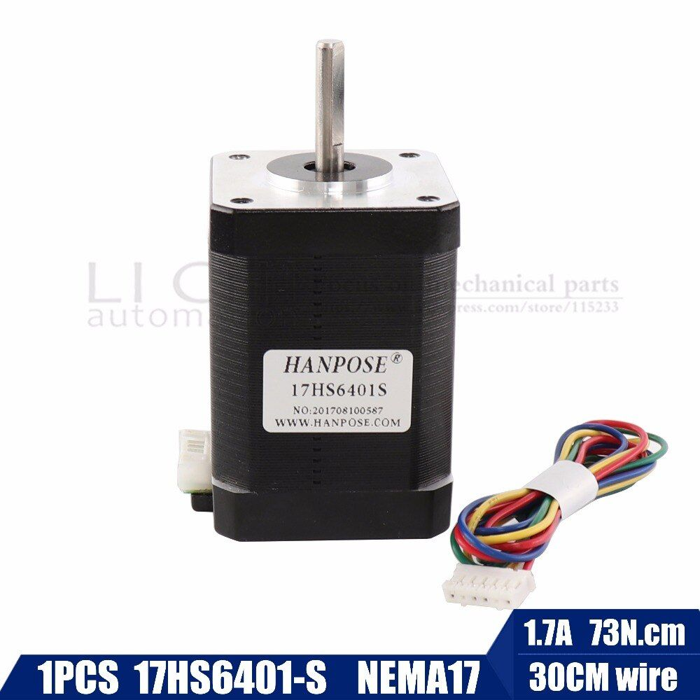 Free shipping 2-phase hybrid stepper motor nema17 motor 60mm (1.7A, 0.73NM, 60mm, 4-wire) nema 17 17HS6401 for 3D printer cnc