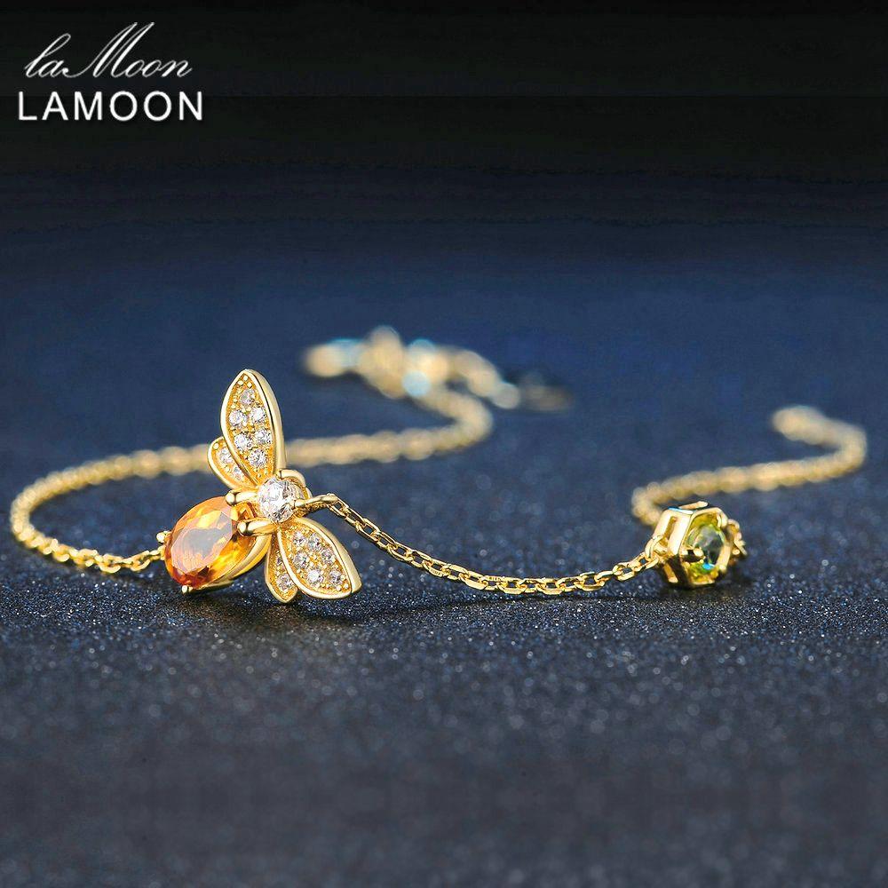 LAMOON mignon abeille 925 Bracelet en argent Sterling femme amour Citrine pierres précieuses bijoux 14K plaqué or Designer bijoux LMHI002