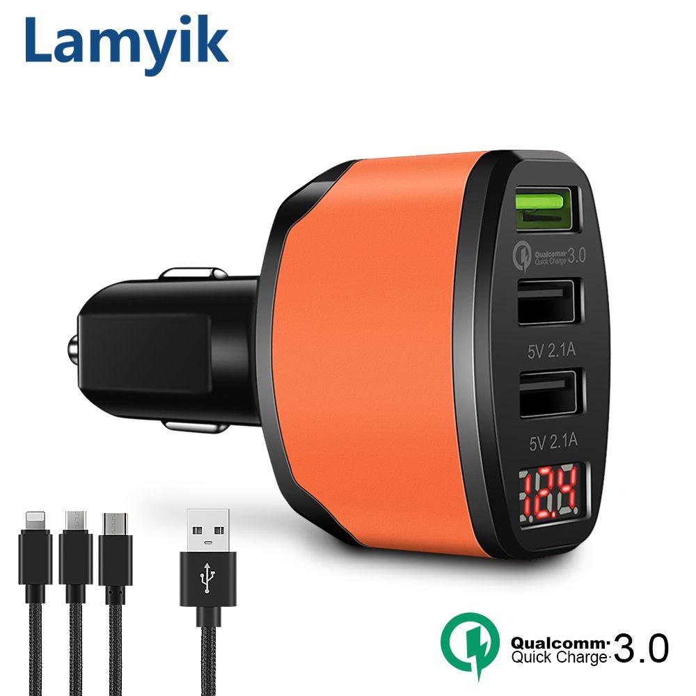 QC3.0 3 Sorties USB Chargeur De Voiture 5 V 4.2A Charge Rapide LED Cigarette Lighter affichage Rapide Chargeur De Voiture Pour Oneplus 5 S8 Livraison câbles