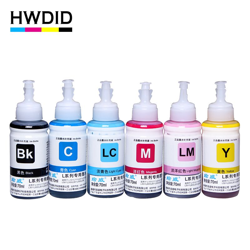 HWDID 6 Color 70ml Refill Dye Ink Kit for Epson L800 L801 L810 L111 L110 L100 L210 L201 L200 L301 L350 L351 L358 L550 L551 L558