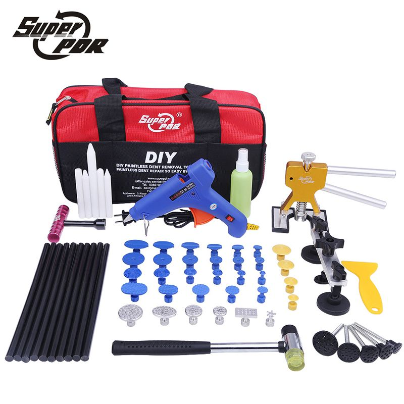 Super PDR Kit Tools Car Dent Repair Tool Dent Puller Hot Melt Glue Gun Pulling Bridge Rubber Hammer Paintless Dent Removal