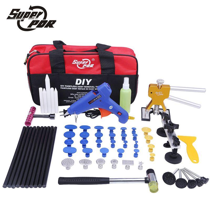 Super PDR Kit Tools Car Dent Repair Tool Dent Puller Hot Melt Glue Gun Pulling Bridge Rubber Hammer Paintless Dent Removal