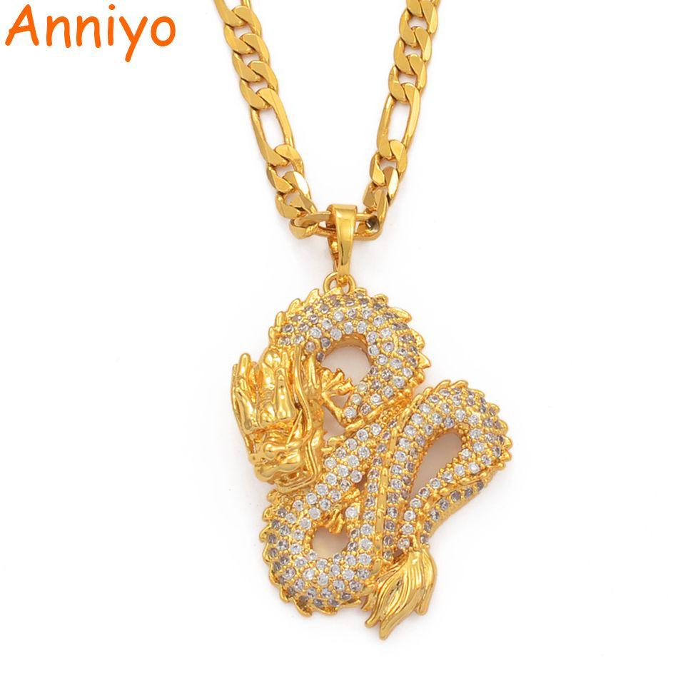 Anniyo Dragon modèle pendentif colliers femmes hommes couleur or bijoux cubique zircone mascotte ornements chanceux symbole cadeaux #067104
