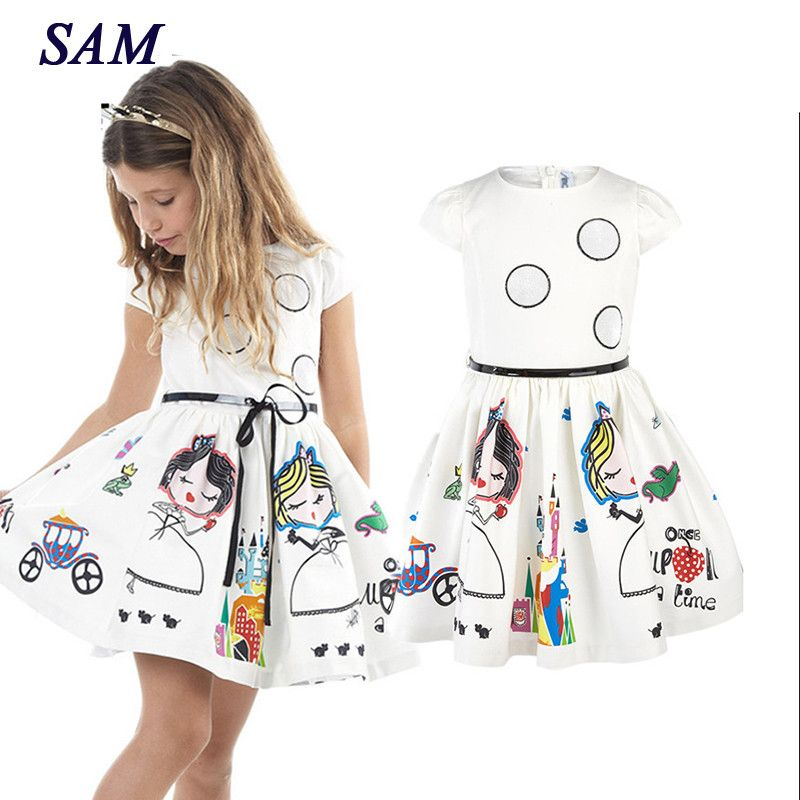 Girls Summer Dress Kids Clothes 2019 Brand Baby Girl Dress with Sashes Robe Fille Character Princess Dress Children Clothing