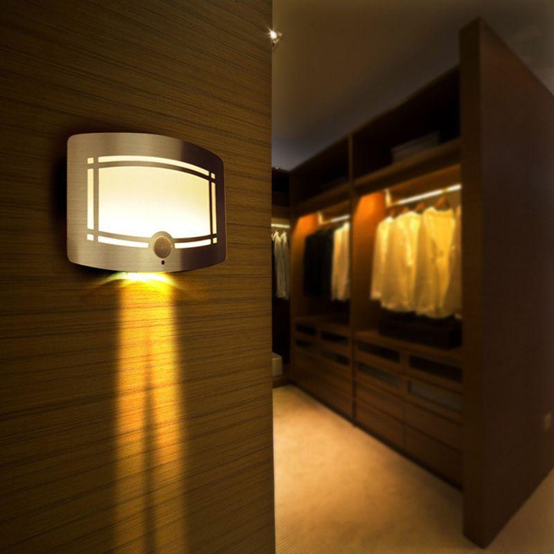 Wireless Infrared Motion Sensor LED Night Light Battery Powered Sensor LED Wall Lamp Wall Path Laundry Stair Sensor Lamp