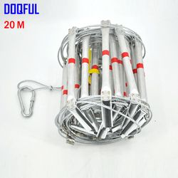 20 M Fire Escape Tangga 66FT Folding Steel Wire Rope Tangga Aluminium Paduan Darurat Survival Penyelamatan Safety Anti Slip Sendok Alat