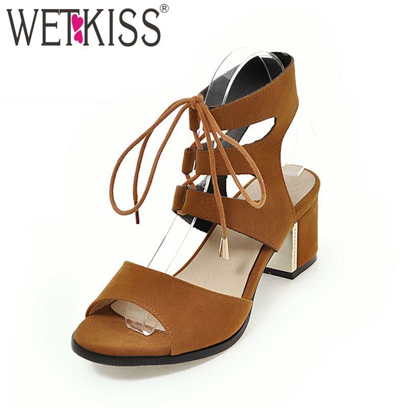Wetkiss 2018 Super Grande Taille 30-48 Femmes Sandales Mode Gladiateur lacent Chaussures D'été Haute Épais À Talons Hauts Sandales à bout Ouvert chaussures