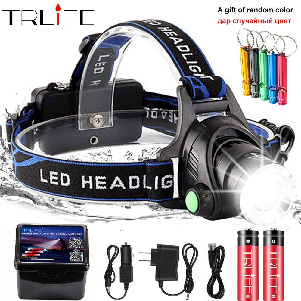 20000lums phare LED XML-V6/L2/T6 zoom LED lampe frontale lampe torche lampe frontale utilisation 2*18650 batterie pour vélo lumière obtenir cadeau