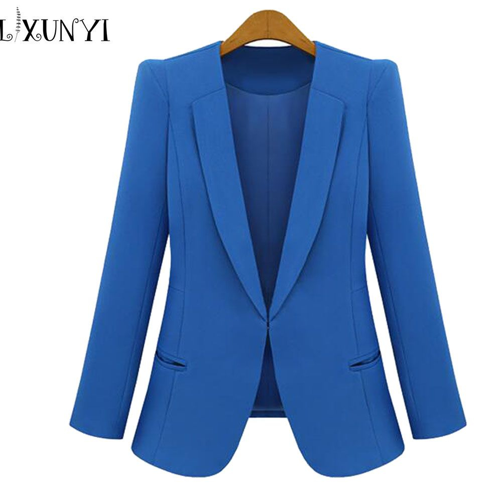 New Spring 2018 Women Blazers plus size fashion female slim blazer Ol Candy Color suit jacket ladies office coat Maxi Size S-4xl