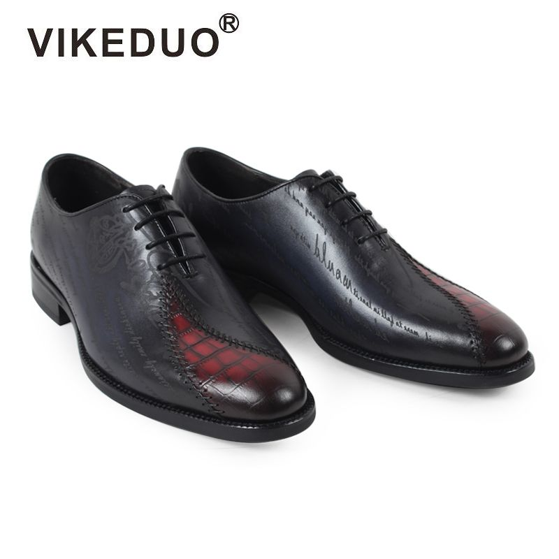 Vikeduo 2018 Classic Men's Dress Formal Shoes Black Custom Male Oxford Office Shoe Genuine Cow Leather Handmade Zapatos Hombre