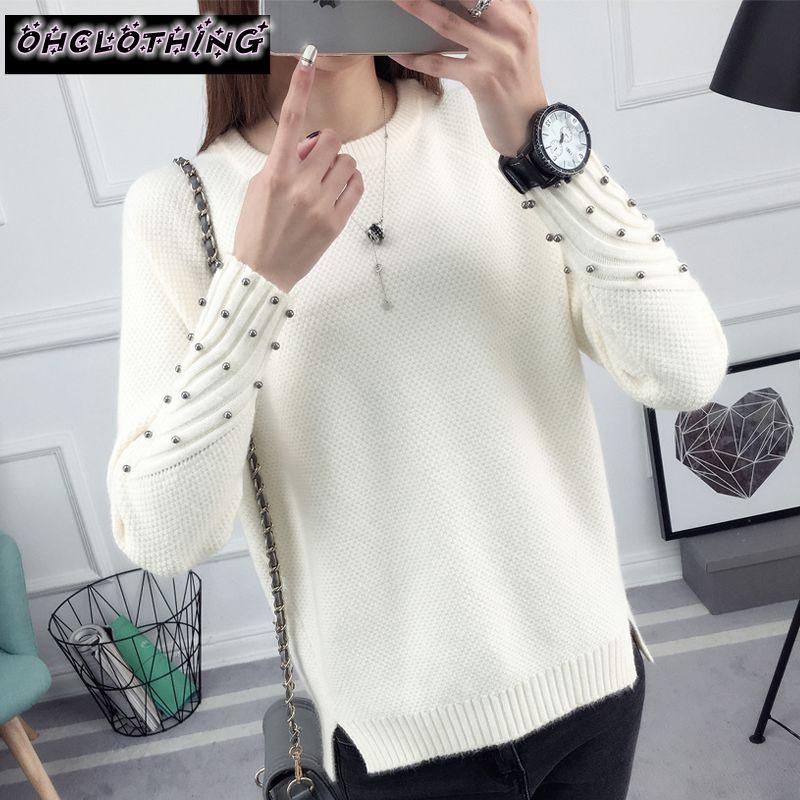OHCLOTHING 2019 nouveau printemps Coréenne Court tout-allumette hiver chandail tricoté chemise à manches longues lâche femmes chandail pull