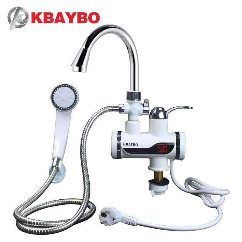 3000W Water Heater Bathroom / Kitchen instant electric water heater tap LCD <font><b>temperature</b></font> display Tankless faucet A-088