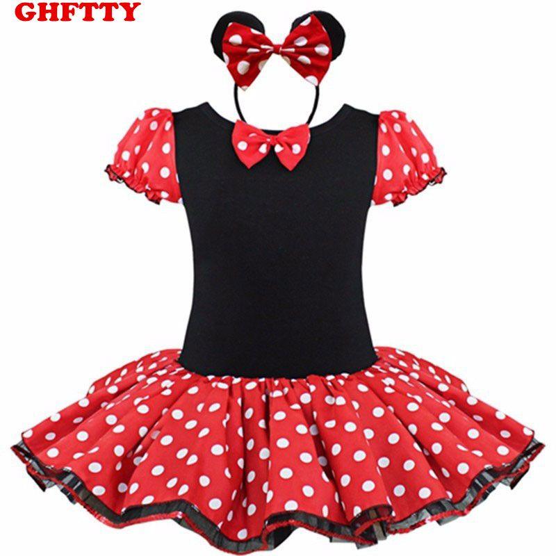 Bebé Vestido de Los Cabritos Minnie Mouse Fiesta de Disfraces de Fantasía Cosplay Girls Ballet Tutu Dress + Ear Diadema Chica Polka Dot Ropa Vestido de la muchacha