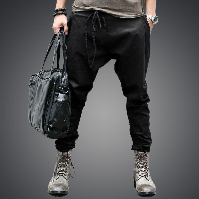 men Harem Pants brand 2017 Casual Sagging pants men Trousers Drop Crotch Pant Men Joggers Feet pants hanging crotch