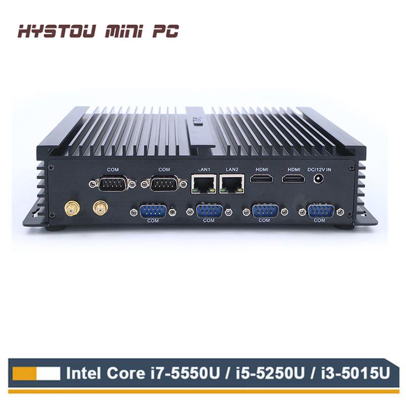 HYSTOU Fanless Industrial Mini PC Win10 Intel Core i7 5550U 2*Intel Gigabit Lan 6*RS232 Rugged Computer Linux 3G Wifi 2*HDMI
