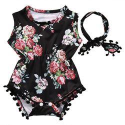 2018 Summer Lovely Baby Girl Romper Clothes Floral Tassel Bodysuit Jumpsuit Headband 2PCS Outfit Sunsuit Tracksuit Clothing Set