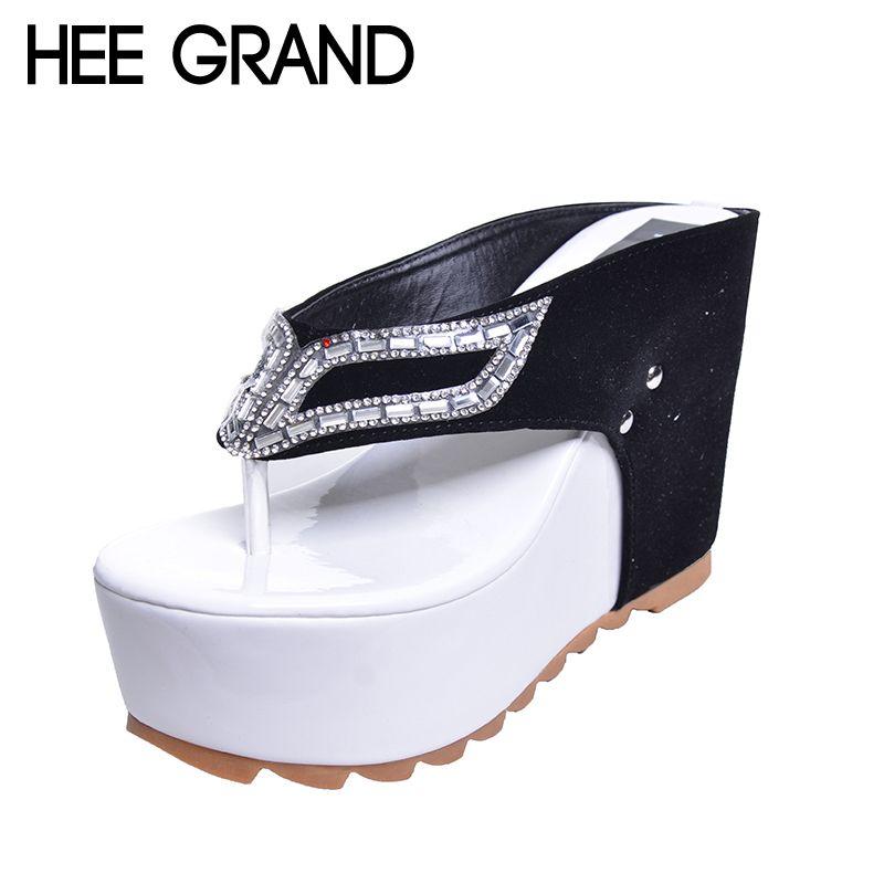 HEE grande marque femmes chaussures fond épais plate-forme tongs strass talon compensé Patchwork femme été pantoufles XWZ1953