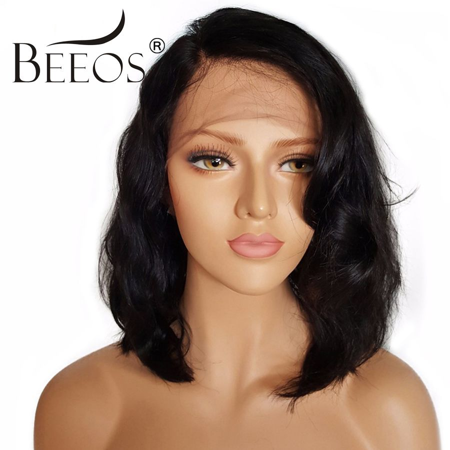 BEEOS Short Lace Front Human Hair Wigs With Baby Hair Non Remy 130% Density Brazilian Pre Plucked Lace Wigs Average Cap 22-22.5