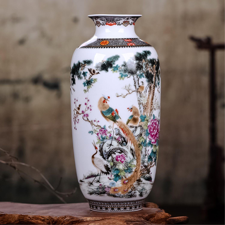 Traditionnel chinois Jingdezhen Vintage table fleur Vase fleur Arrangement décoration blanc en céramique porcelaine Vase artisanat