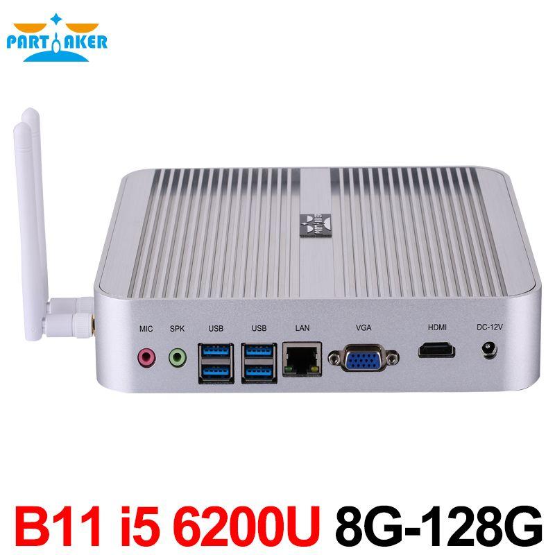 Partaker fanless PC skylake i5 6200u Mini PC Ventanas 10 4 K htpc Gráficos HD 520 300 m WiFi 8g ram 128g SSD