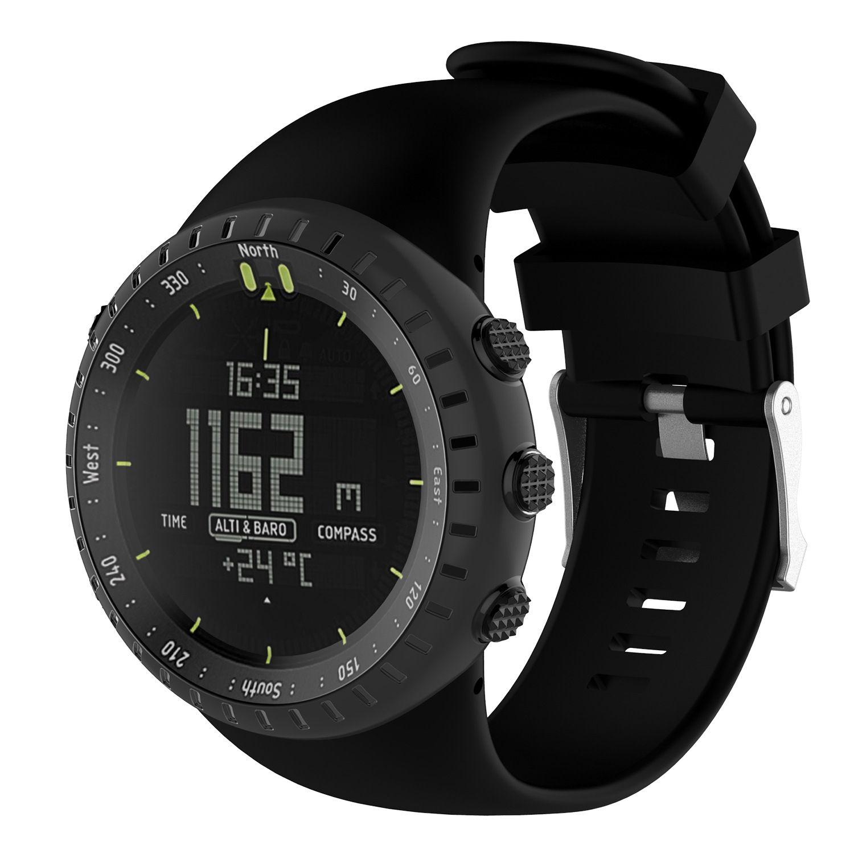 Weigele silicona correa de pulsera para Suunto Core Todo Negro Militar deportes al aire libre de los hombres del reloj