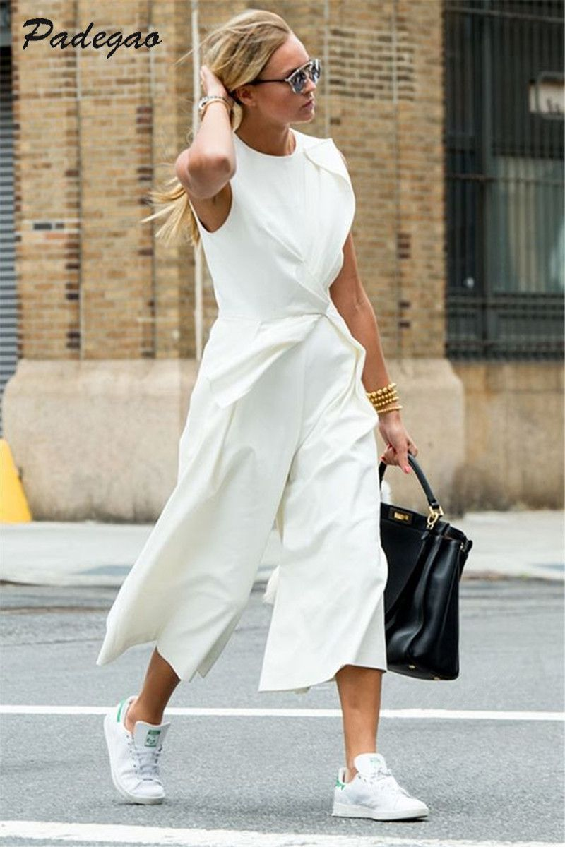 PADEGAO White Ankle-Length Pants Empire Waist Asymmetrical Vest Conjoined Pants 2017 Casual Fashion Women Clothing Elegant Slim