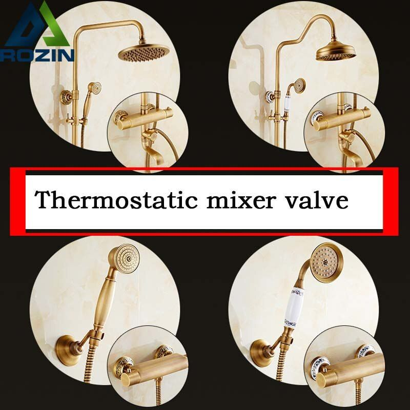 Antique Brass Wall Mount Thermostatic Shower Mixer Faucet One Handle Bathtub Shower Faucet with Handheld Shower