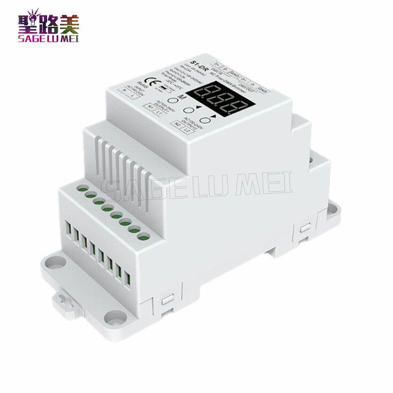 Free shipping S1-DR AC100V-240V DIN rail 2 <font><b>Channel</b></font> 2CH AC Triac DMX Dimmer, Dual <font><b>channel</b></font> output Silicon DMX512 LED controller