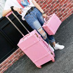 الجملة! عالية الجودة فتاة بو الجلود عربة مجموعة حقائب أمتعة ، جميل كامل الوردي حقيبة سفر كلاسيكية للإناث ، الرجعية الأمتعة هدية
